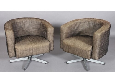 A pair of Milo Baughman style swivel tub chairs upholstered ...
