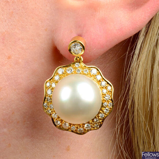A pair of 'black' and 'white' cultured pearl and pavé-set diamond earrings, attributed to Grima.