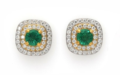 A pair of ear studs each set with an emerald encircled by numerous diamonds weighing a total of app. 0.59 ct., mounted in 18k gold and white gold. F/VS. (2) – Bruun Rasmussen Auctioneers of Fine Art