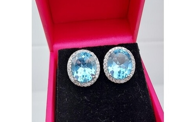A pair of silver blue topaz and CZ earrings 15MM in length]