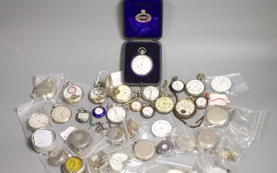 A quantity of pocket watches, movements etc. including three...