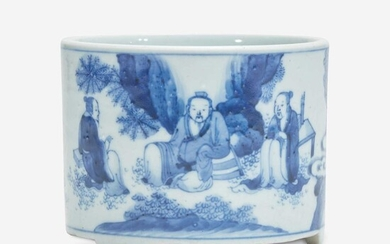 A small Chinese blue and white porcelain cylindrical censer 青花圆香炉