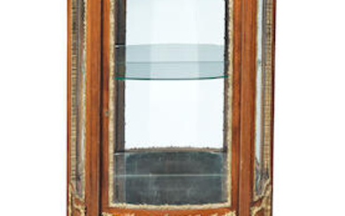 A small French late 19th/early 20th century gilt bronze mounted rosewood and marquetry vitrine