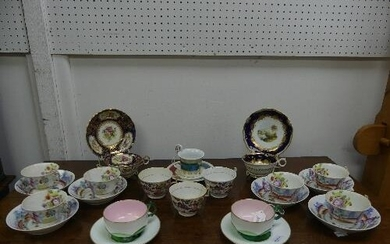 A small quantity of antique Cups and Saucers, comprising a V...