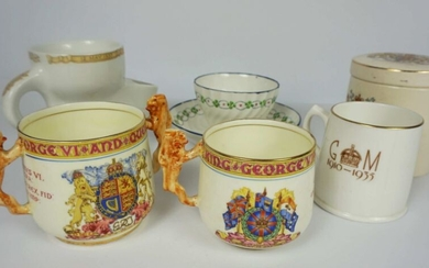 A small quantity of commemorative china including a Paragon ware 1937 Coronation two handled cup and