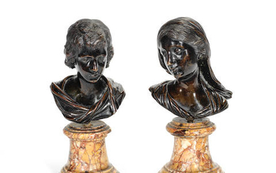 After François Duquesnoy (Flemish, 1597-1643): A pair of patinated bronze busts of the Young Christ and the Virgin Mary
