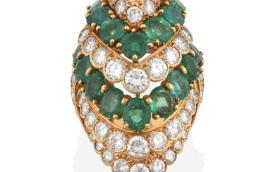 An Emerald and Diamond Cluster Ring, the bombé marquise...