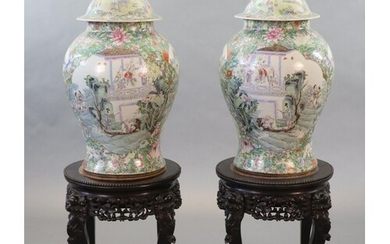 An impressive pair of Chinese famille rose eight immortals ...