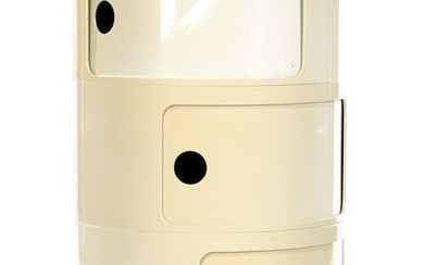 Anna Castelli (1918-2006), White lacquered plastic 3-piece cabinet with 3...