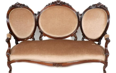 Antique rosewood butterfly sofa covered with brown
