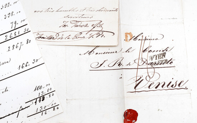 CARLISM: WEDDING OF JUAN DE BORBÓN Y BRAGANZA, 1847. Letters and accounts corresponding to the jewellery sold and bought for the wedding with Beatrice of East-Austria.