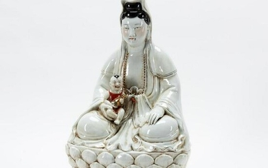 """CHINESE LARGE SEATED GUANYIN, """"BRINGER OF SONS"""""""