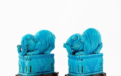 CHINESE, PAIR PEACOCK-BLUE CROUCHING ELEPHANTS