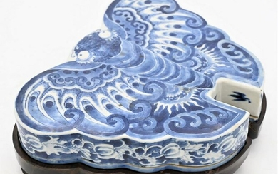 Chinese Blue and White Porcelain Butterfly/Moth Box