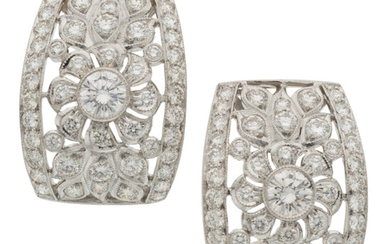 Diamond, Gold Earrings The earrings feature full-cut diamonds weighing...