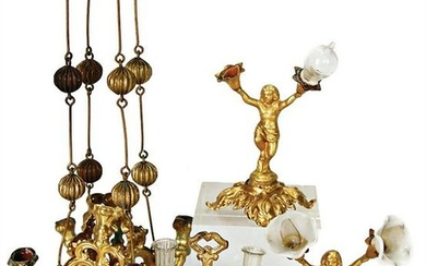 ERHARD & SÖHNE sheet brass, gilded, 2 table lamps