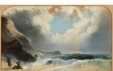 English school, early 20th century, seascape with figures, s...