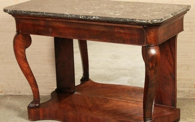 FRENCH REGENCY MAHOGANY MARBLE TOP CONSOLE TABLE