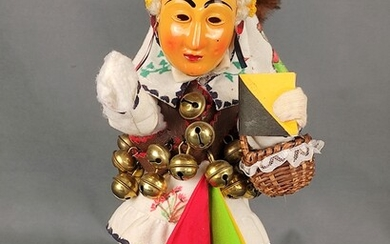 Figure Rottweiler Gschell, plastic figure with handpainted clothes, bells and fur, on wooden base