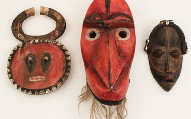 GROUP OF 3 AFRICAN CARVED WOOD AND POLYCHROME MASKS