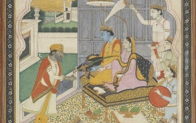 Maharaja Gulab Singh of Kashmir showing reverence to Rama and Sita, Punjab Hills, India, late 19th/early 20th century, opaque pigments on paper heightened with gold, Rama and Sita depicted enthroned together, attendants behind and below them, and...