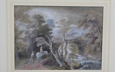 Manner of Thomas Gainsborough, pencil and watercolour - Extensive Landscape with Figures and a Horse, in glazed gilt frame