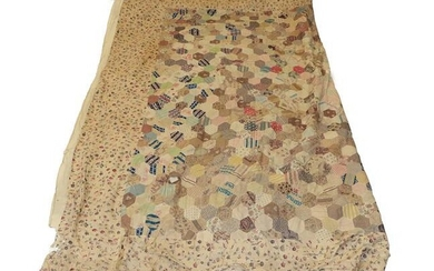 Mid 19th Century Bed Cover with Hexagonal Patches, comprising decorative...