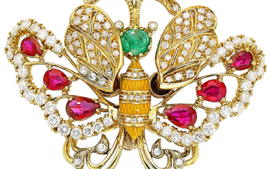 Multi-Stone, Diamond, Enamel, Gold Brooch The butterfly brooch features...