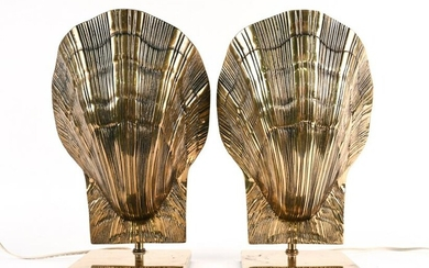 PAIR OF 1970'S CHAPMAN BRASS SHELL FORM LAMPS