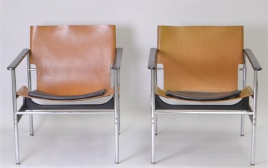PAIR OF CHARLES POLLACK FOR KNOLL CHROME AND LEATHER ARMCHAIRS, CIRCA 1970
