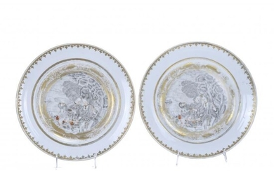 PAIR OF CHINESE INDIAN COMPANY DISHES, 19TH CENTURY.