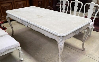 Painted French Louis XV style dining table, approx 79cm H x ...