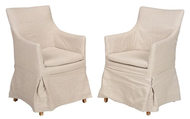 Pair Contemporary Upholstered Armchairs