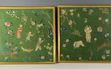 Pair of Framed Chinese Embroideries, Early 20th Century