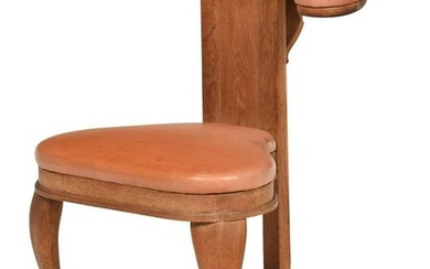Queen Anne Style Oak Leather Upholstered Music Chair