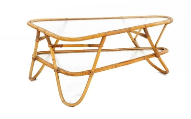 Rattan coffee table with cloud glass