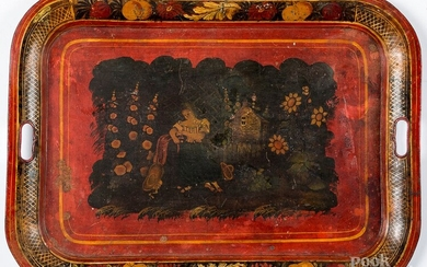 Red toleware serving tray, 19th c.