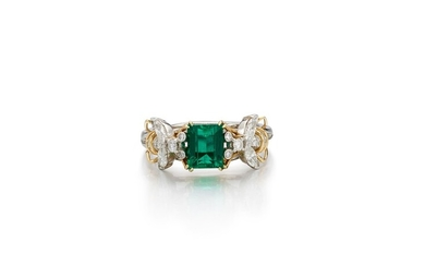 Schlumberger for Tiffany & Co.   Emerald and Diamond Ring   Schlumberger for Tiffany & Co.   2.01 克拉 天然「哥倫比亞」祖母綠 配 鑽石 戒指
