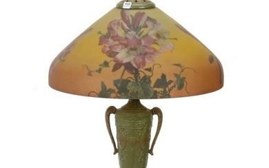 Table Lamp, Reverse Painted Shade