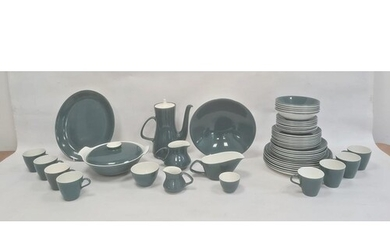 Teal, blue and white Poole pottery part dinner/coffee servic...