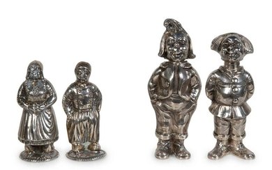 Two Pairs of Silver Figural Salt and Pepper Shakers