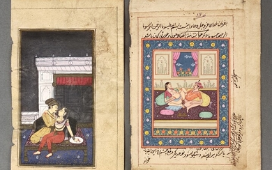 Two miniature paintings with erotic scenes, one book page written on both sides, gouache on paper