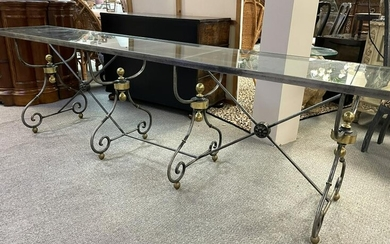 """VTG WROUGHT IRON REGENCY STYLE CONSOLE TABLE 108"""""""