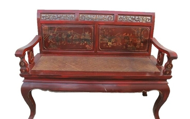 Vintage Chinese red wood & wicker bench