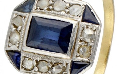 14K. Yellow gold Art Deco ring with Pt 950 platinum set with diamond and synthetic...