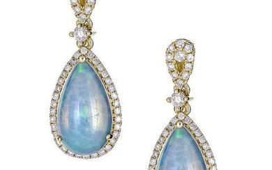 18K YELLOW GOLD ETHIOPIAN OPAL & DIAMOND EARRING