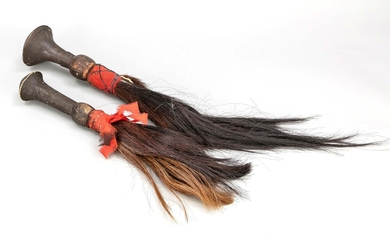 2 fly whips, Africa, wood, textile and horsehair