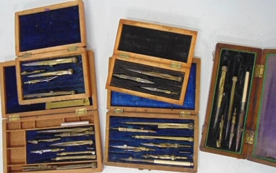 5 Drafting Sets, Unsigned, Wood cases, Bone, brass