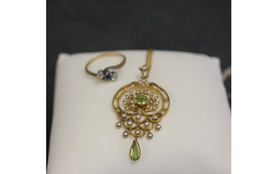 A 15ct gold peridot and seed pearl set pendant, on unmarked ...