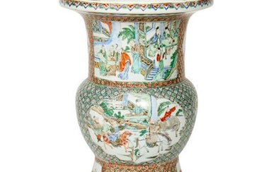 A CHINESE FAMILLE-VERTE STYLE GU SHAPED VASE